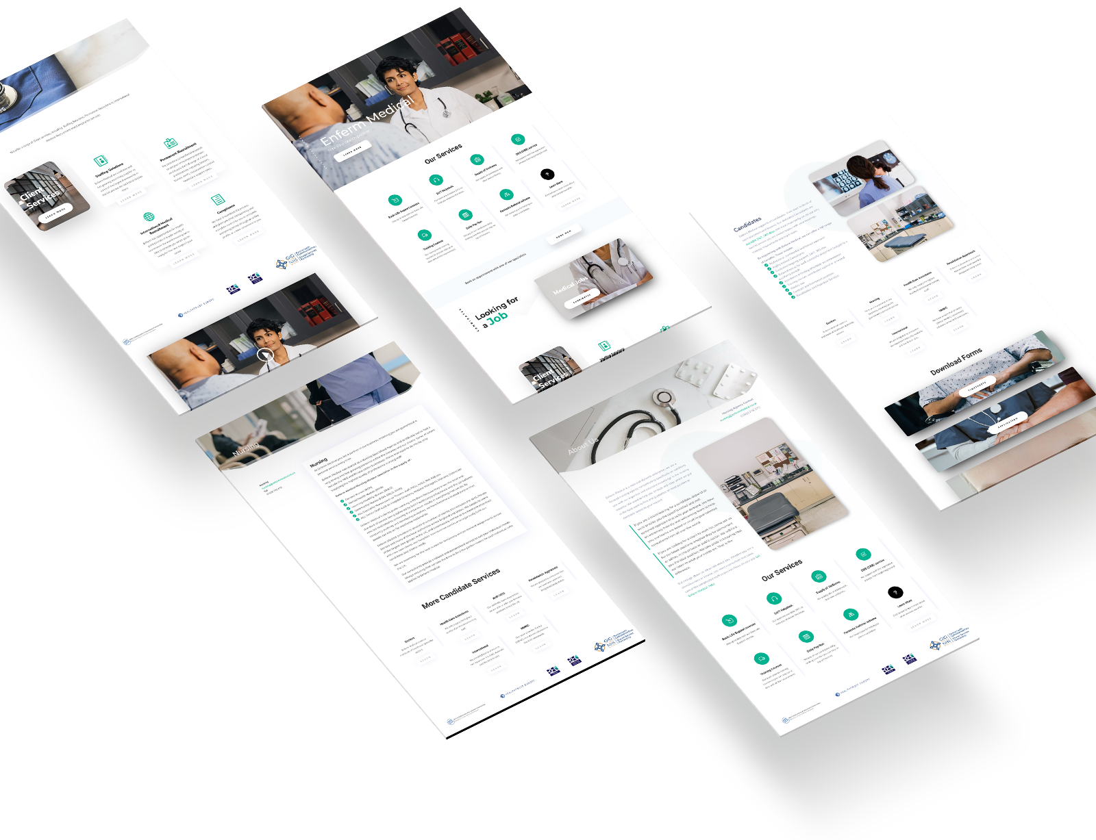 the atom lab Enferm Medical Website design screens